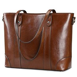 S-ZONE 15.6″ Leather Laptop Bag for Women Shoulder Bag Large Work Tote with Padded Compart ...