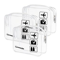 3pcs Lermende TSA Approved Toiletry Bag with Zipper Travel Luggage Pouch Carry On Clear Airport  ...