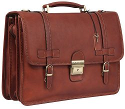 Banuce Vintage Full Grain Italian Leather Briefcase for Men Business Lock Lawyer Attache Case 14 ...