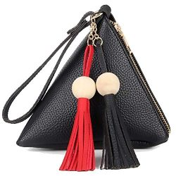 Gifts Bag Purses Tassel Handle,Gifts Wallet Triangle Shape Design for girls-Wristlet Bags PU Lea ...