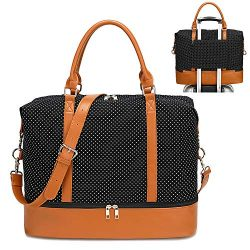 Womens Travel Weekend Bag Canvas Overnight Carry on Shoulder Duffel Beach Tote Bag (Black polka  ...