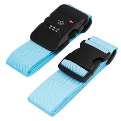 BlueCosto Luggage Strap TSA Approved Combination Lock Adjustable Suitcase Straps Travel Belt &#8 ...