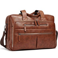 Leather Mens Briefcase Large Capacity 15.6 Inch Laptop Vintage Business Travel Shoulder Bag Brown