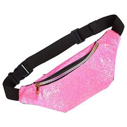 QtGirl Fanny Pack for Kids, Glitter Waist Bag Shiny Bags with Adjustable Belt for Children Sport ...