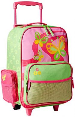 Stephen Joseph Girls Classic Rolling Luggage, Hot Pink/Lime Green One Size