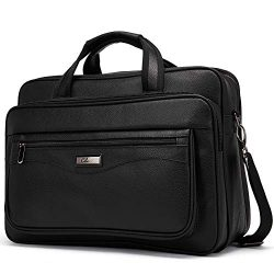 Leather Briefcase for Men Large Capacity 15.6 Inch Laptop Business Travel Shoulder Bag Black