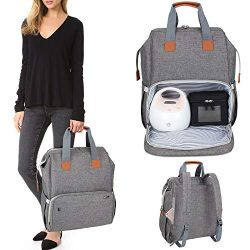 Luxja Breast Pump Bag with Compartments for Cooler Bag and Laptop, Breast Pump Backpack with 2 O ...