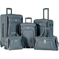 Flieks 5 Piece Luggage Set Deluxe Expandable Rolling Suitcase (gray&black)