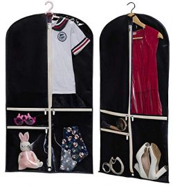 Kimbora Costume Dance Garment Bag with 3 Clear Zipper Pockets for Suits Dress Cover, Travel Stor ...