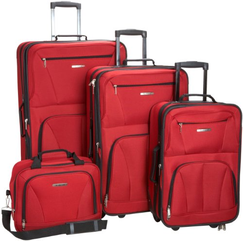 Rockland Luggage Skate Wheels 4 Piece Luggage Set, Red, One Size