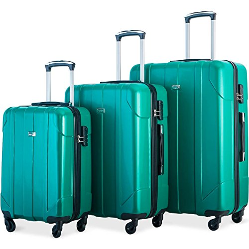 Merax Luggage 3 Piece Set P.E.T Luggage Spinner Suitcase Lightweight 20 24 28inch (Emerald Green)