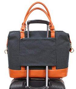 Womens Travel Weekend Bag Canvas Overnight Carry on Shoulder Duffel Beach Tote Bag (Black polka dot)