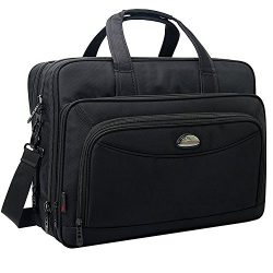 17 inch Laptop Bag, Travel Briefcase with Organizer, Expandable Large Hybrid Shoulder Bag, Water ...