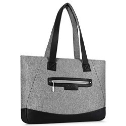 MOSISO Laptop Tote Bag (Up to 17.3 Inch), Water Resistant PU & Polyester Women Work Travel S ...