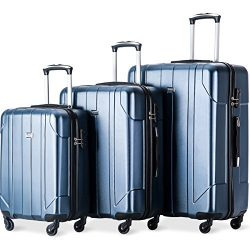 Merax Luggage 3 Piece Set P.E.T Luggage Spinner Suitcase Lightweight 20 24 28inch (Blue)