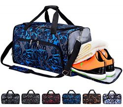 FANCYOUT Sports Gym Bag with Shoes Compartment & Wet Pocket, Travel Duffel Bag for Men and W ...