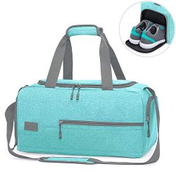 MarsBro Water Resistant Sports Gym Travel Weekender Duffel Bag with Shoe Compartment Tiffany Blue