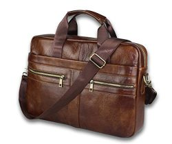 Timeless Genuine Leather Messenger Bag for Men – Gorgeous Superior Brown Carry All Briefcase wit ...