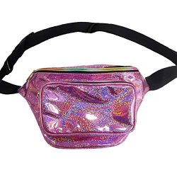 Holographic Fanny Pack Metallic 80s Waist Pack for Women and Men-Adjustable Running Belt Travel  ...