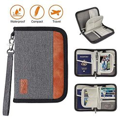Family Travel Passport Holder Portable Wallet RFID Blocking Document Tickets Organizer with Zipp ...