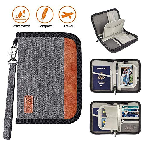 Family Travel Passport Holder Portable Wallet RFID Blocking Document Tickets Organizer with Zipp ...