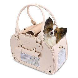 PetsHome Dog Carrier Purse, Pet Carrier, Cat Carrier, Waterproof Premium Leather Pet Travel Port ...