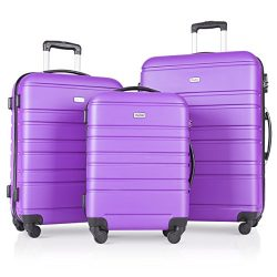 3 Pcs Luggage Set Hardside Travel Suitcase with Spinner Wheels Lightweight Durable ABS Hardshell ...