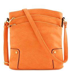 Triple Zip Pocket Large Crossbody Bag (Orange)