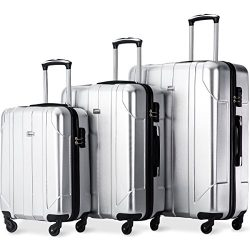 Merax Luggage 3 Piece Set P.E.T Luggage Spinner Suitcase Lightweight 20 24 28inch (Space Silver)