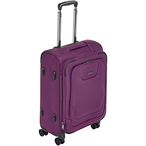 AmazonBasics Premium Expandable Softside Spinner Luggage With TSA Lock- 21 Inch, Purple