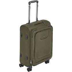 AmazonBasics Premium Expandable Softside Spinner Luggage With TSA Lock- 21 Inch, Olive