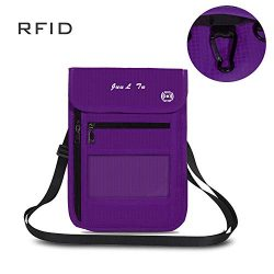 ROOSALANCE Travel Neck Pouch Neck Stash Wallet with RFID Blocking Premium Family Passport Holder ...