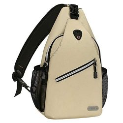 MOSISO Sling Backpack, Multipurpose Crossbody Shoulder Bag Travel Hiking Daypack, Beige