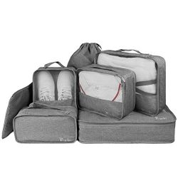 Packing Cubes for Travel 7 Set Luggage Packing Organizers Travel Accessories, Gray