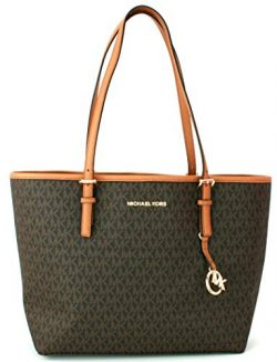 MICHAEL KORS JET SET TRAVEL MEDIUM CARRYALL PVC TOTE BAG IN BROWN (BROWN)