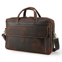 Men's Vintage Leather Messenger Satchel Casual Case Slim Multi-purpose School Travel Busin ...