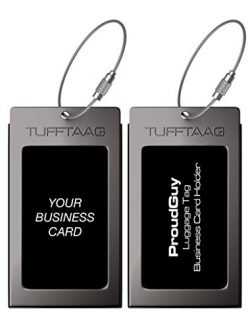 Luggage Tags Business Card Holder TUFFTAAG Travel ID Bag Tag in Many Color Options (2 Tags, Gunm ...