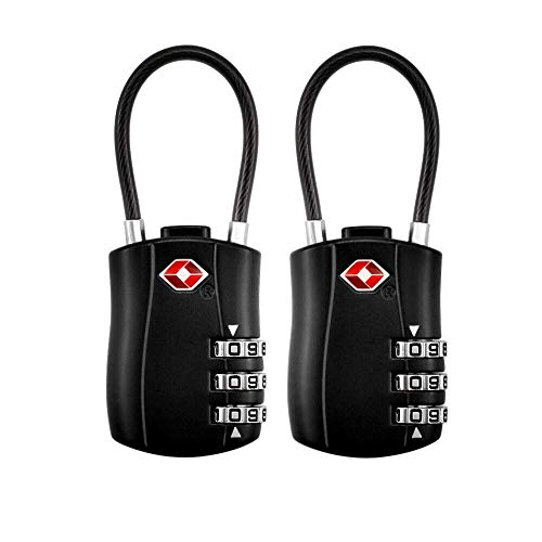 TSA Luggage Locks (2 Pack),3 Digit Security Padlock,Combination lock,Approved Travel Cable Locks ...