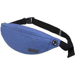 Fanny Pack for Men Women Unisex with Headphone Jack and 3-Zipper Pockets Adjustable Belt Waist P ...