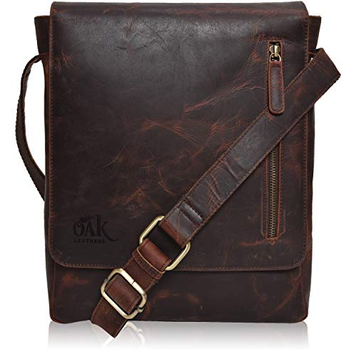 Leather Messenger Bag for Men Women – Messenger bag for Ipad Vintage Leather Crossbody Ove ...