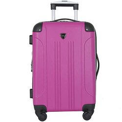 Travelers Club Luggage Chicago 20″ Hardside Expandable Carry-on Spinner, Fucshia