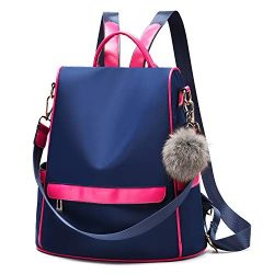 Women Backpack Purse Nylon Anti-theft Fashion Casual Lightweight Travel School Shoulder Bag (Nav ...