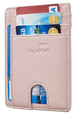 NapaWalli RFID Blocking Minimalist Genuine Leather Slim Front Pocket Wallet U (Alaskia Pink)