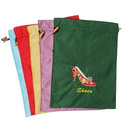 Ouyatoyu 5pcs Embroidered Silk Jacquard Travel Bag, Laundry Bags Shoe Bags, Lingerie Bags Underw ...