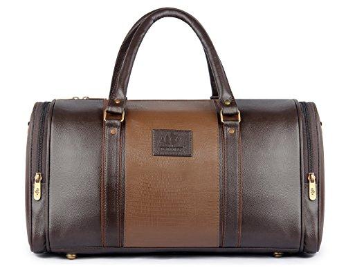 Ambaince Travel Duffel Bag | 20 ltrs Leatherette Duffle Bag | Weekender Bag-Brown