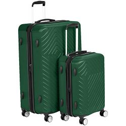 AmazonBasics 2 Piece Geometric Hard Shell Expandable Luggage Spinner Suitcase Set – Green