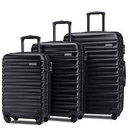 Merax Afuture Luggage Set Hardside Lightweight Spinner Suitcase 20″ 24″ 28″ (B ...