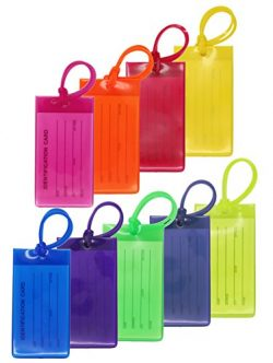 9 Packs Colorful Flexible Travel Luggage Tags for Baggage Bags/Suitcases – Name ID Labels  ...