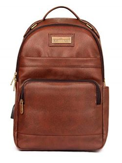 Victor 27 liters Faux Leather Backpack for 15.6 inch Laptops-Amber