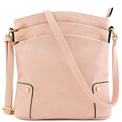 Triple Zip Pocket Large Crossbody Bag (Blush)